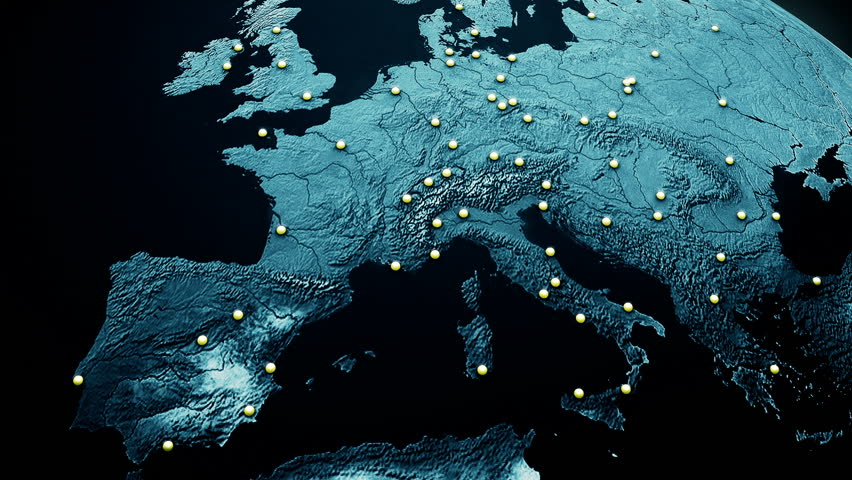 Network Connections over Europe Top View 3D Animation illustrating business connections, e-commerce relations, flight routes connecting the cities of Europe by lines