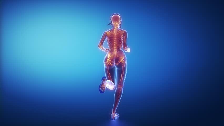 Running woman skeleton scan | Shutterstock HD Video #10069547
