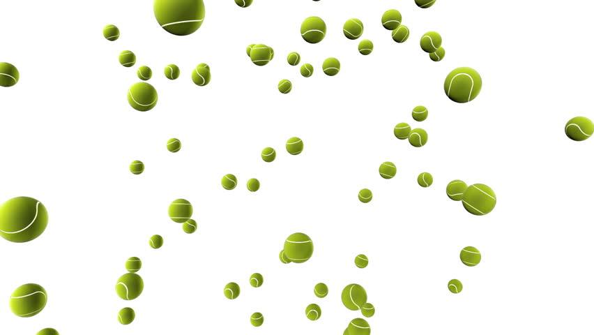 Tennis balls rotating on white background CG animation