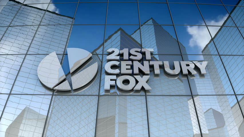 December 2017, Editorial use only, 3D animation, 21st Century Fox logo on glass building.