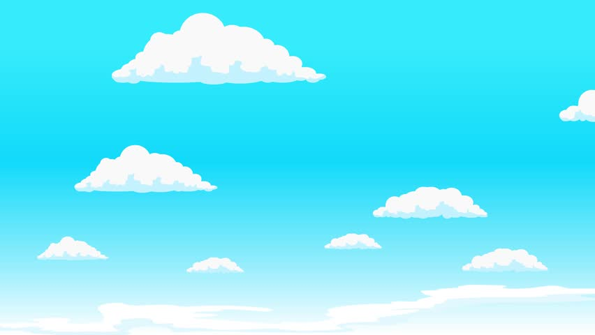 Clouds moving along blue sky. Animated cartoon colorful background. Looped video