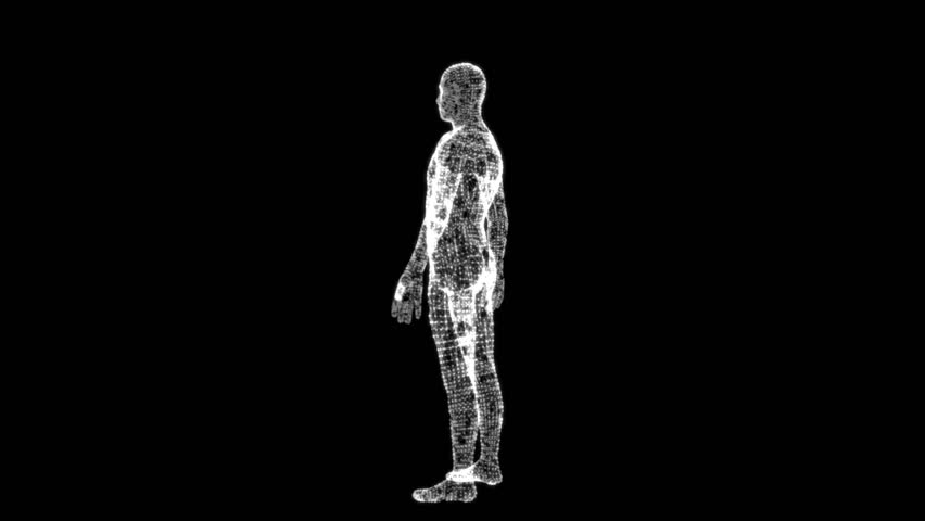 Rotating 3d Human figure formed by evolving lines loop