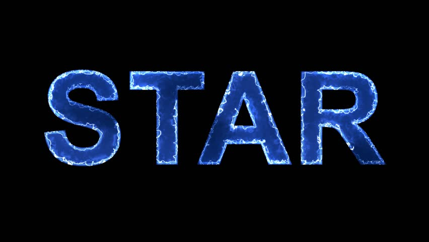 Blue lights form luminous text STAR. Appear, then disappear. Electric style. Alpha channel Premultiplied - Matted with color black | Shutterstock HD Video #1008570550