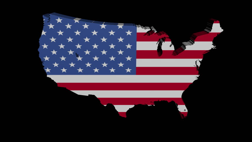 American Map With Animated Flag Stock Footage Video - Us flag map