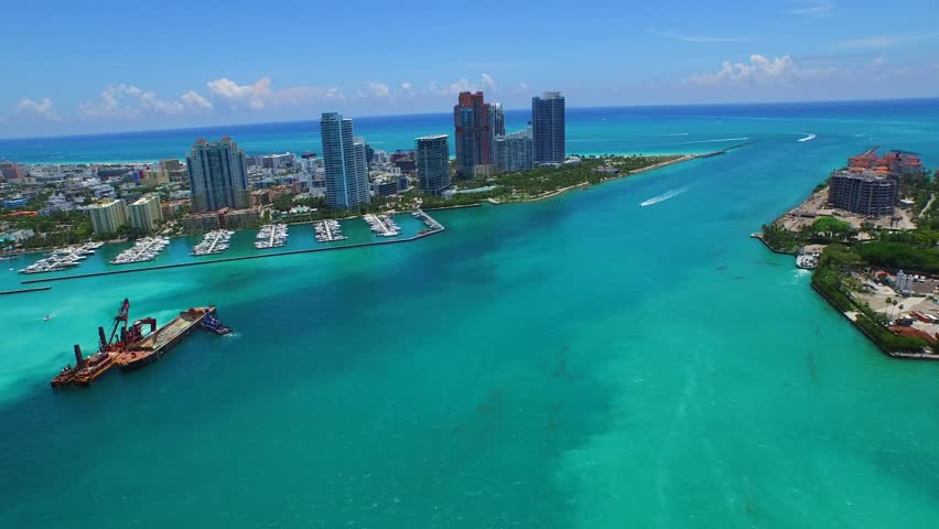 Hyperlapse aerial video Miami Beach