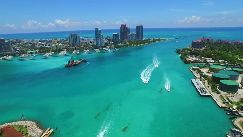 Aerial video of Miami Beach inlet to the ocean 4k