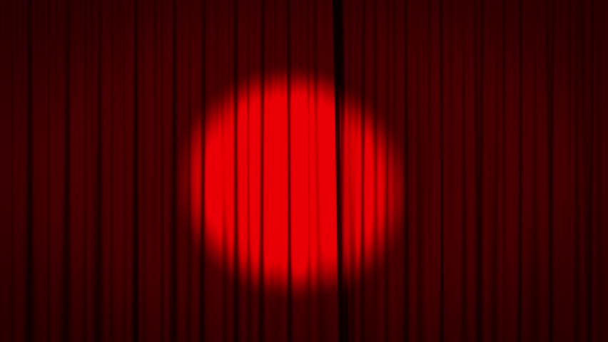 Realistic animation of a red curtain with spotlight opening to reveal a green screen. Including alpha matte.