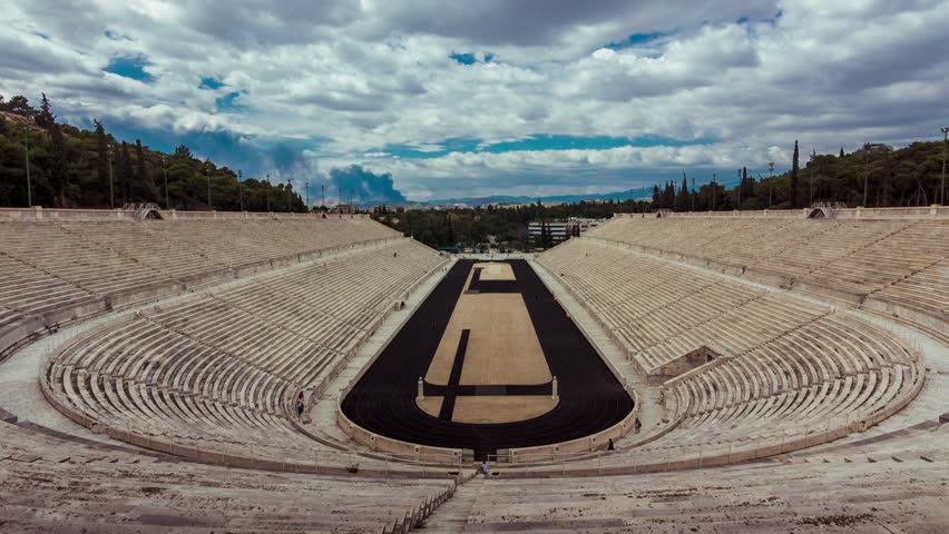 4K timelapse.Panathenaic Stadium in Athens Greece,wide timelapse overview,blue sky and clouds | Shutterstock HD Video #10285970