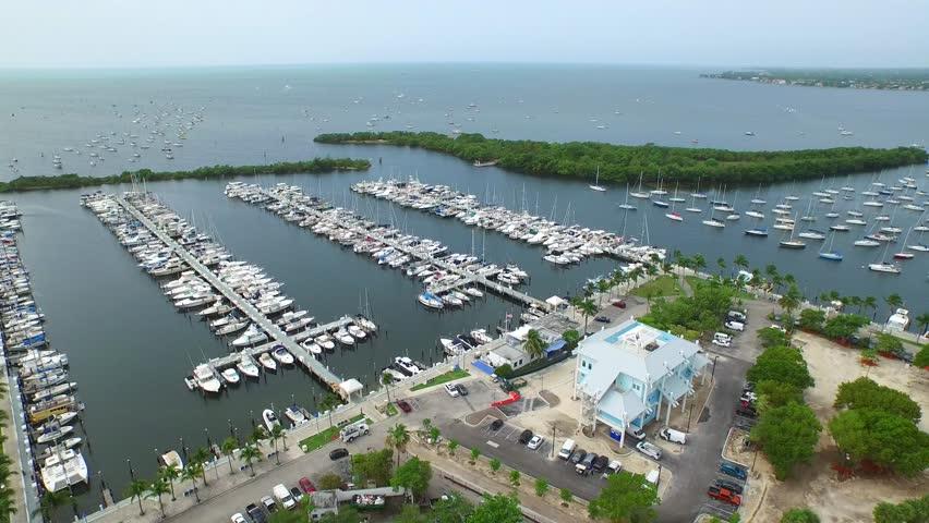 Aerial Miami Coconut Grove Marina 4k