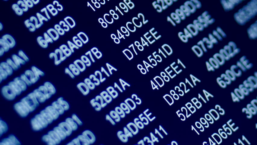 Zoom in on hexadecimal numbers scrolling on computer screen | Shutterstock HD Video #10373408