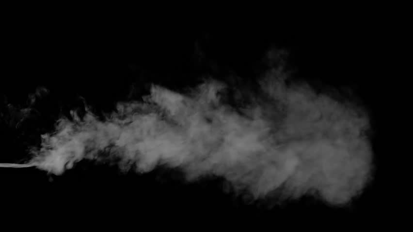 Smoke from a gun shot, from the left side, floating in space, on black background