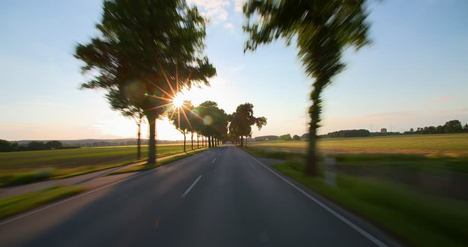 Driving a car - POV - Road at Sunset - Part 4 of 8 Shot on roof-mounted Sony PXW FS7 This shot was split into a series of takes, that can be put back together for the original length clip. | Shutterstock HD Video #10526063