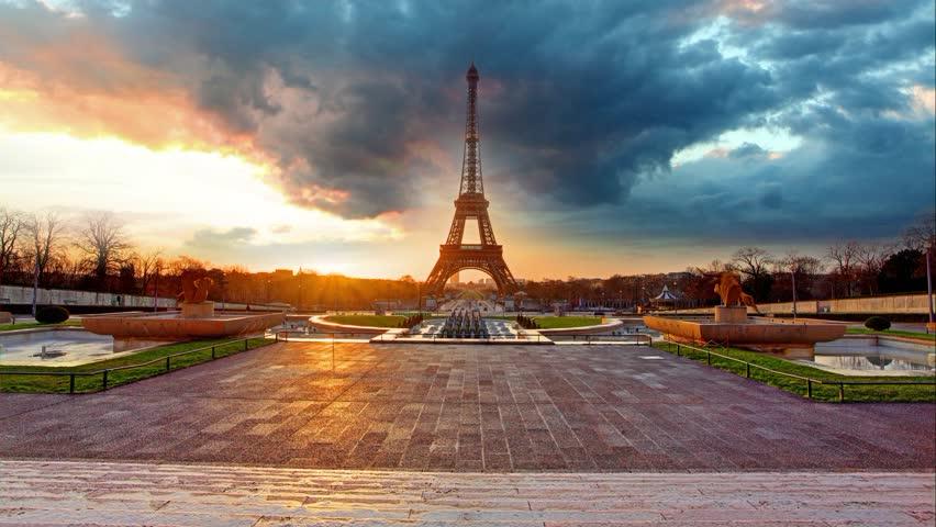 Paris, Eiffel Tower at sunrise - Time lapse | Shutterstock HD Video #10585613