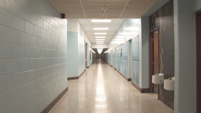 High School Hallway Slow Zoom Slow Zoom Down A Long