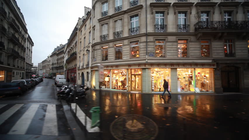 Streets and homes with showcases in heart of Paris, view from passing bus window   Shutterstock HD Video #1064518
