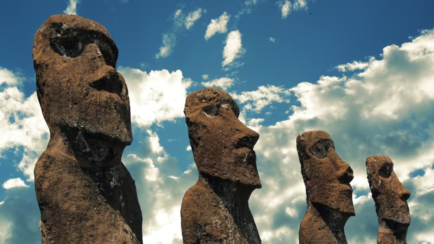 Easter Island huge aboriginal statues against the sky