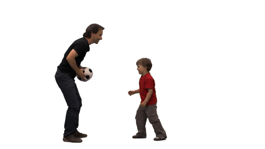 A little boy and his father playing ball. Side view. Full HD footage with alpha channel