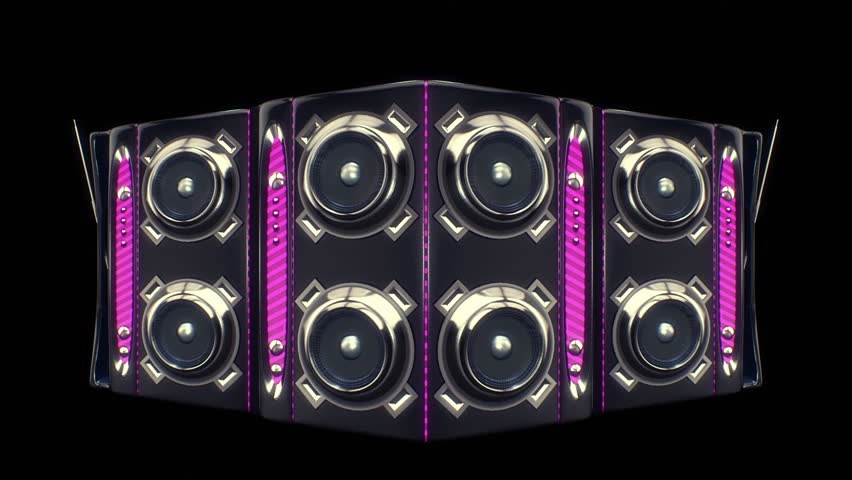 Boom box ghetto blaster wall with moving cones on a black background. Looping animation.