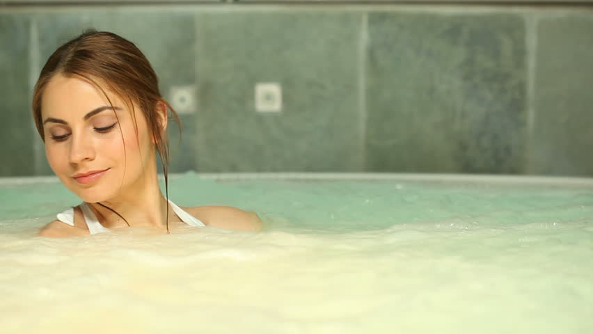 Beautiful Young Woman Relaxing In A Jacuzzi Hot Tub At Spa Girl With White Bikini -9827