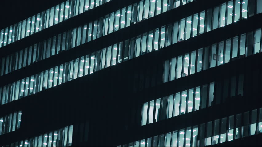 Close-up of the facade of a skyscraper in Tokyo, Japan at night | Shutterstock HD Video #10838543