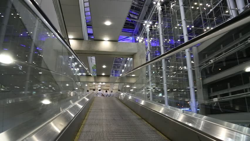 Modern Architecture Rome escalator and modern architecture airport in rome pov stock