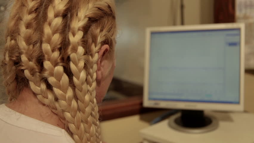 Neurology Ward. Eeg. Nurse Follows Functions Of Brain On Computer ...