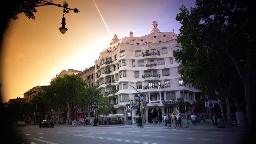 barcelona spain may twilight scene of casa mila la pedrera