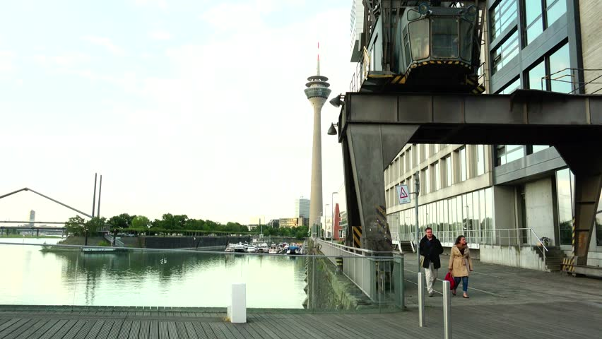 Postmodern Architecture Gehry dusseldorf, germany - may 8: dusseldorf harbor is home to some