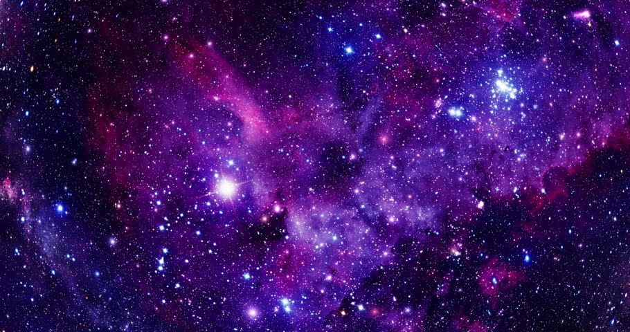 Flying Through Stars and Nebulae - 4K - Purple The camera flies through a star field against the backdrop of a Hubble like nebula.