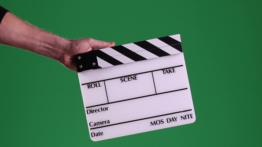 A motion picture clapboard, also called a slate, with hands snapping the stick