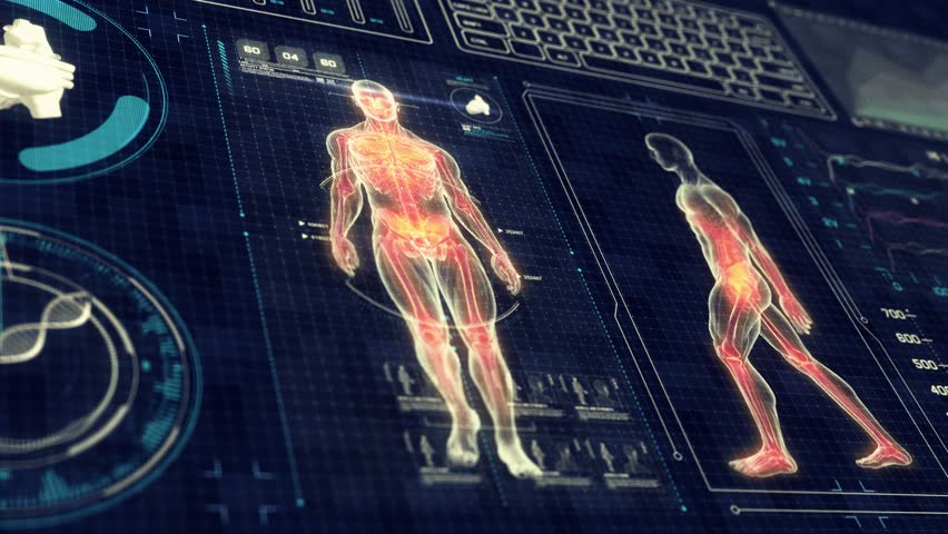 Human Anatomy WALKING with Futuristic Touch Screen Scan Interface in 3D x-ray - LOOP