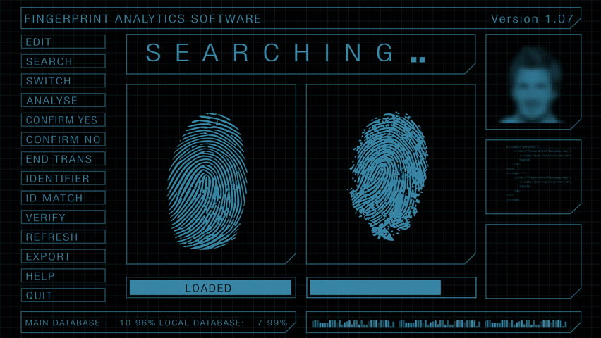 Fingerprint forensic search and scan software graphic user interface, match found animation | Shutterstock HD Video #11123228