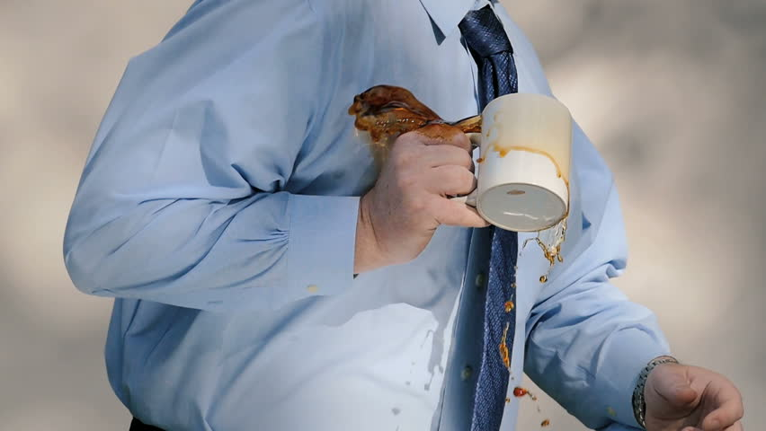 Businessman spills coffee and stains shirt and tie, slow motion  | Shutterstock HD Video #11152028
