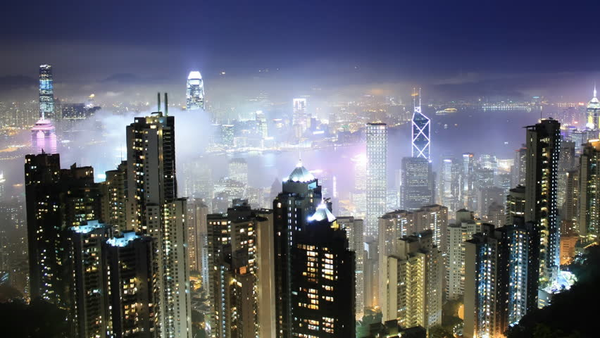 Time lapse Hong Kong skyline from famous Peak View at night. Fog comes into the city.  | Shutterstock HD Video #1117294