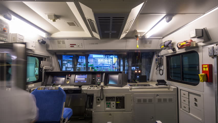 YOKOHAMA, JAPAN AUGUST 12, 2015: View of the conductors room on a Keikyu Main Line train. The line links Tokyo and Yokohama. | Shutterstock HD Video #11200892