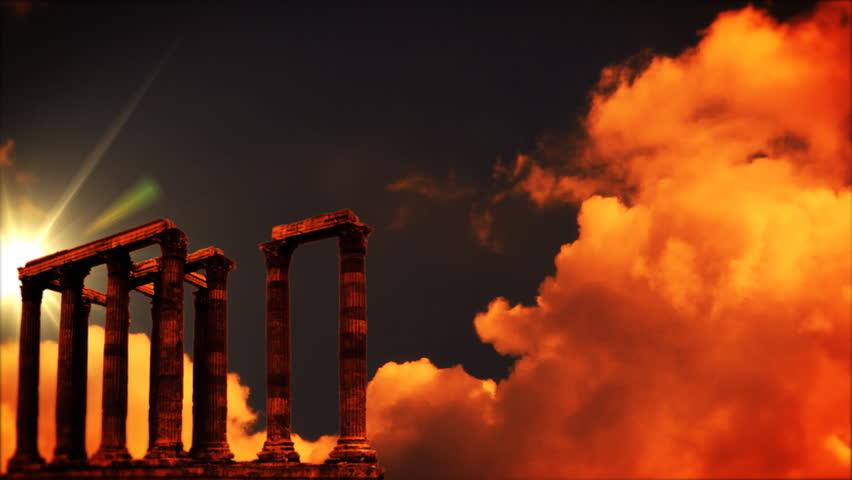 Roman columns at sunset, time lapse