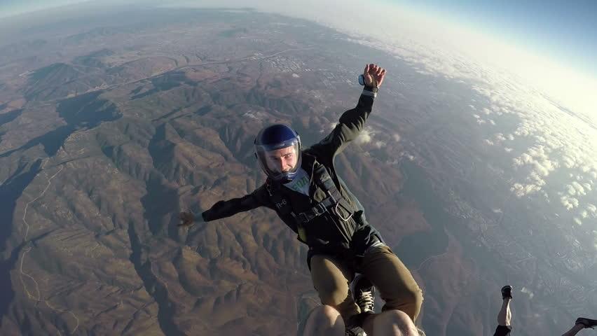 POV Man Sky Diving, Extreme Sport