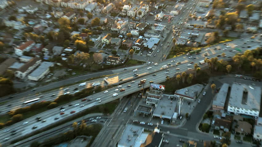 Aerial View of Los Angeles Freeway / Highway / Suburbs  | Shutterstock HD Video #1128187