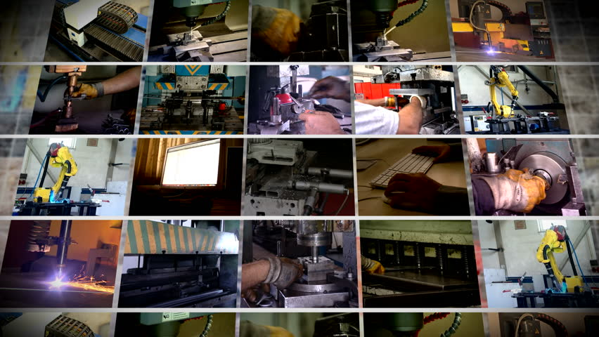 multiscreen industrial production montage FULL HD