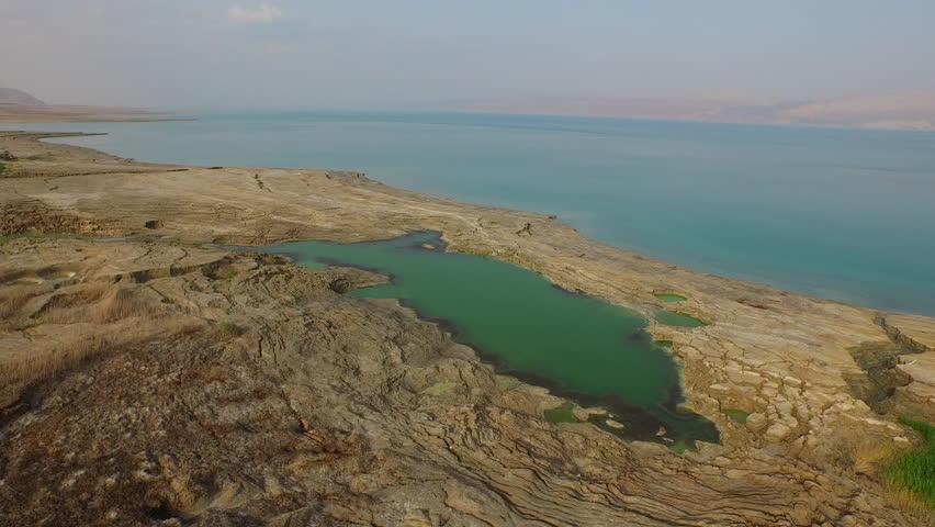 DEAD SEA, ISRAEL - CIRCA MARCH 2015: Aerial of the stunning Dead Sea.  | Shutterstock HD Video #11402219