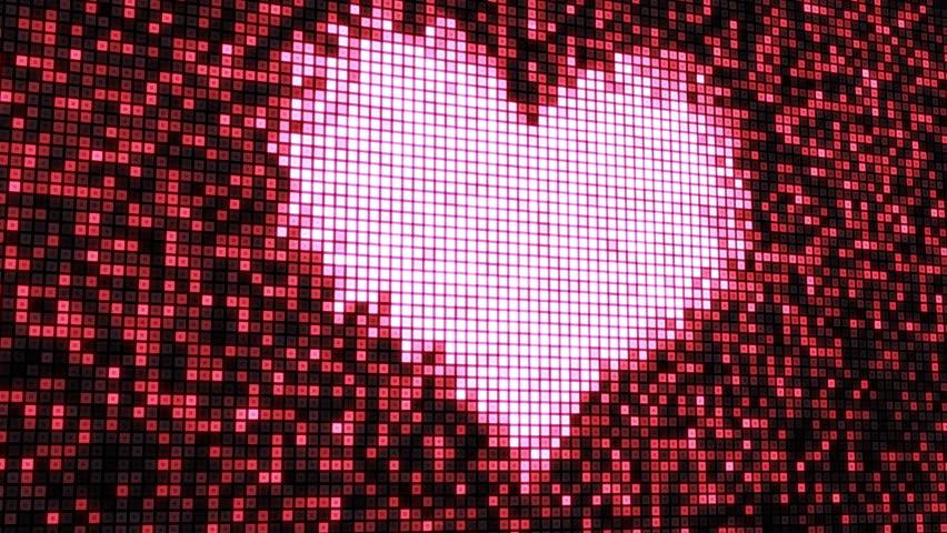 heart shape on digital screen seamless loop