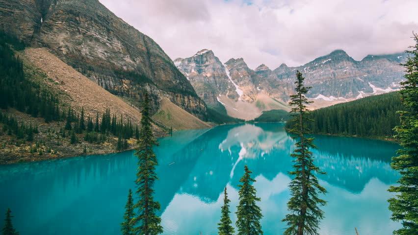 4K Timelapse of Moraine Lake at sunrise in Banff National Park, Canada.