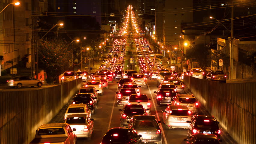 Time lapse view of long traffic jam at night time...