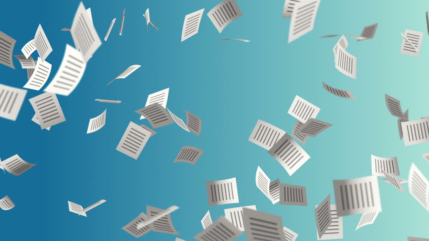 animation flying paper documents with icon on cover