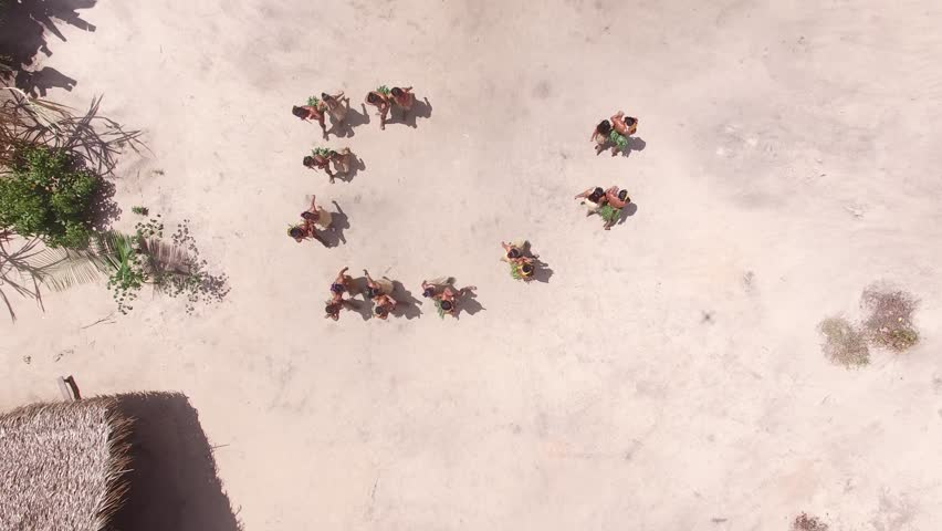 Aerial View of Indian tribe ritual in Amazon, Brazil