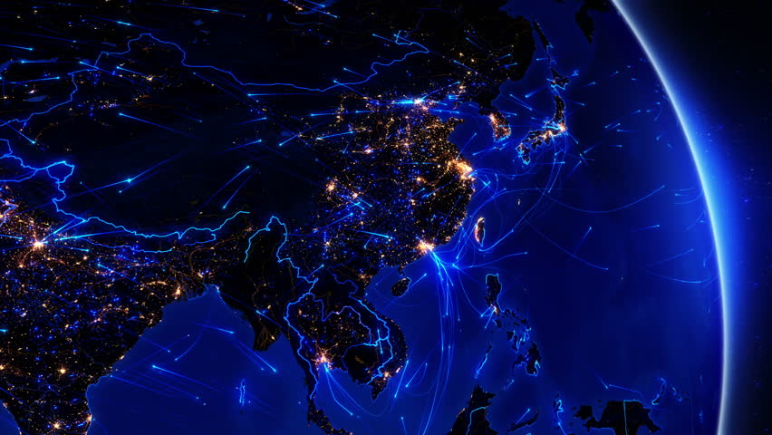 Earth connections. Asia. Japan and China. Animation of the Earth with bright connections and citiy lights. Aerial, maritime, ground routes and country borders. 2 in 1 file. Dolly and locked. Blue.