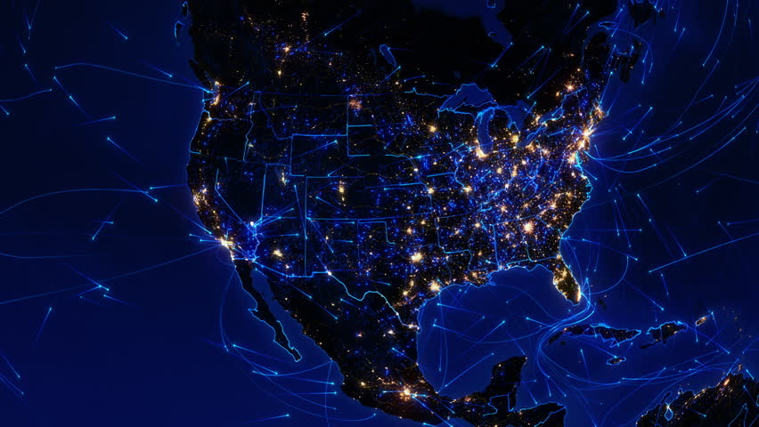 World connections. US. Aerial, maritime and ground routes. State and country borders. Animation of the Earth with bright connections and city lights. Locked. Blue. Images: http://www.nasa.gov. | Shutterstock HD Video #11728784