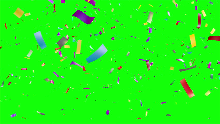 Multicolored Confetti falling over green screen. Holiday or party background. More options in my portfolio.