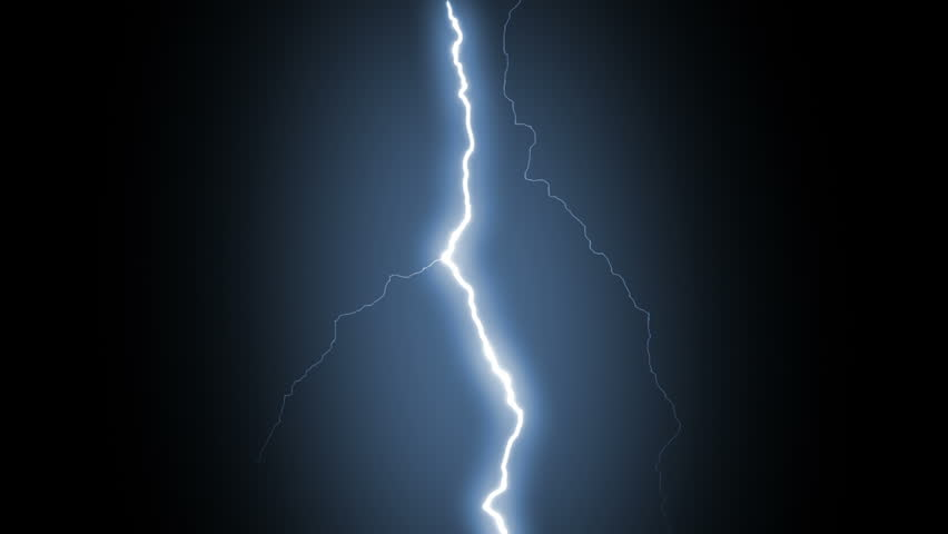 Several lightning strikes over black background....