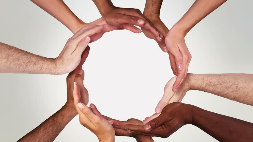 Hands in a circle. Multiracial female and male hands making a circle. Loopable from frame 111 to frame 338. Alpha matte. More options in my portfolio. | Shutterstock HD Video #11746163